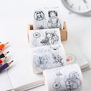 Декоративный скотч с карандашами «Caricature»