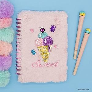 Блокнот с мехом «Sweet ice cream»