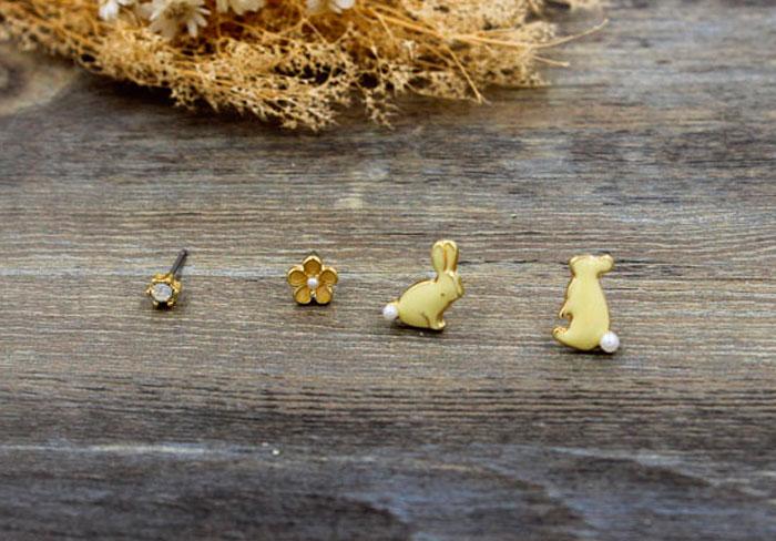 Набор сережек «Rabbits and flowers»