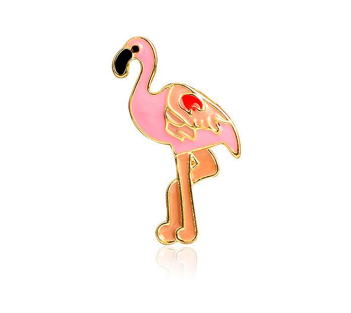 Брошь-значок «Розовый фламинго»