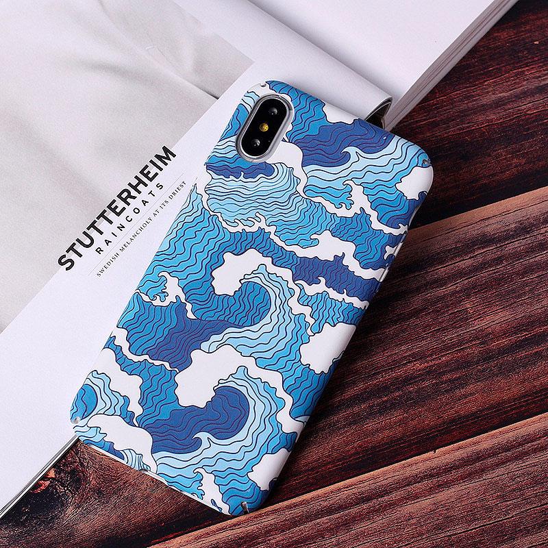 Светящийся чехол для iPhone «Морские волны»