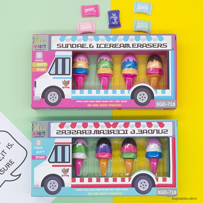 Набор ластиков «Автобус с мороженым»