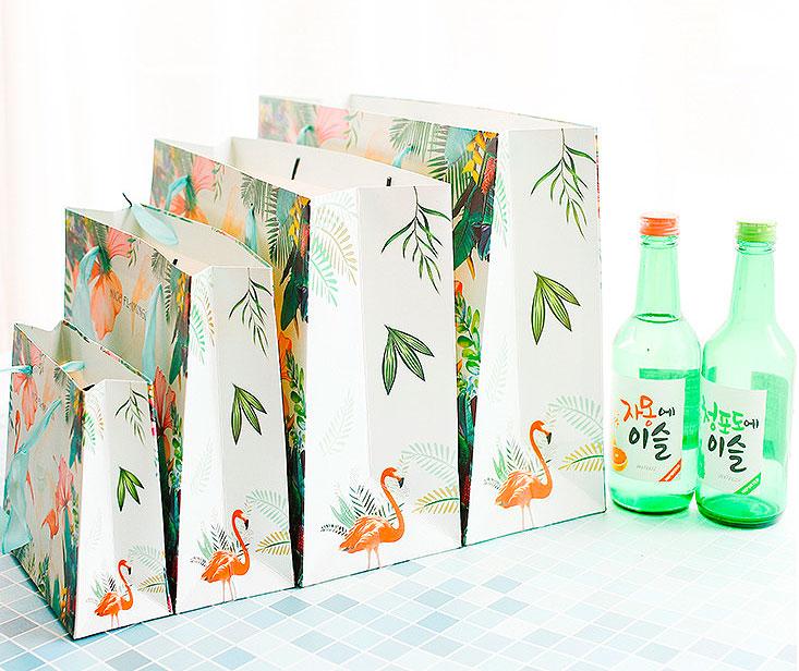 Подарочный пакет «Nice flamingos» большой