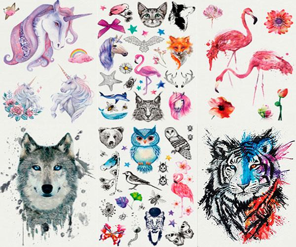 Временная татуировка «Дивные звери» (большая)