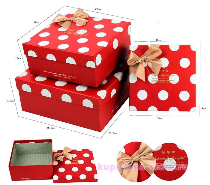 Подарочная коробка «Горошек» средняя