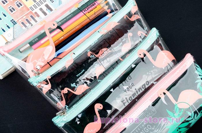 Прозрачный пенал «Pink flamingo»