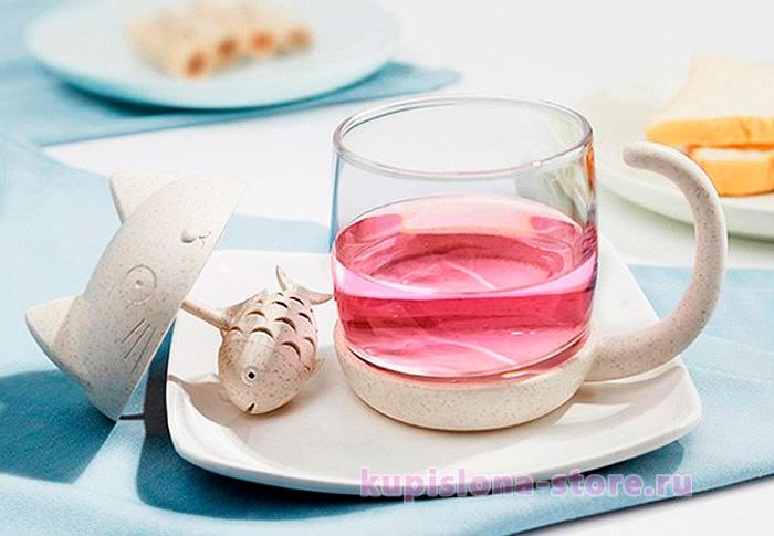 Стакан для заваривания чая «Kitten's fish»
