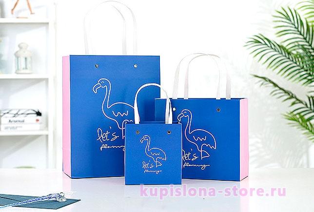 Подарочный пакет «Let's flamingle» большой