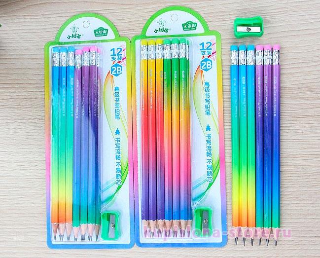 Набор карандашей с точилкой «Радуга»