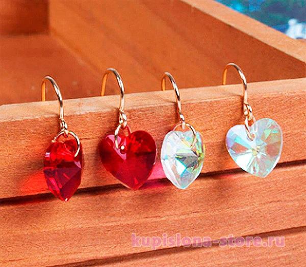 Серьги «Crystal heart», укороченные