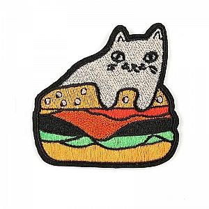 Нашивка «Кот с гамбургером»