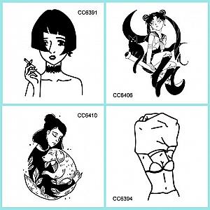 Временная татуировка «Black and white in woman»