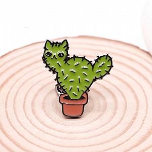 Брошь-значок «Cactus cat»