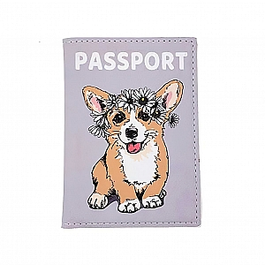 Обложка на паспорт «Corgi with a wreath»