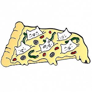 Брошь-значок «Пицца с котами»