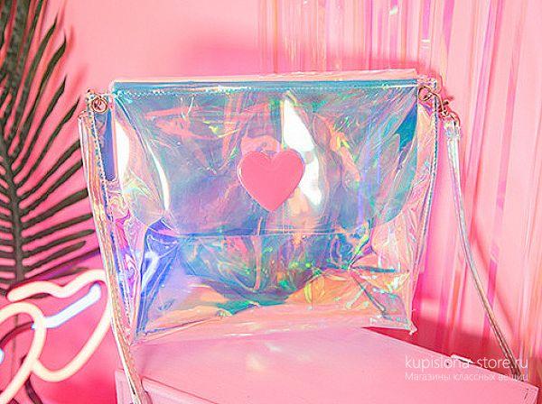 Голографическая сумка «Neon heart»