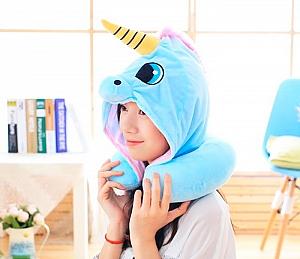 Подушка под шею с капюшоном «Unicorn»