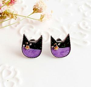 Серьги-гвоздики «Night cat»