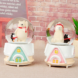 Стеклянный шар «Мишка и пингвин» большой
