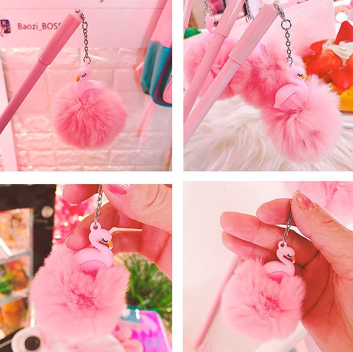 Ручка с пушистым брелоком «Flamingo»